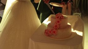Close-up hands cutting wedding cake at the party. stock footage