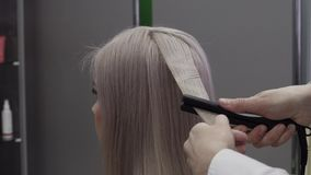 The Hands Of A Girl Hairdresser Make Styling For Hair. Close-up - The Hands Of A Girl Hairdresser Make Styling For Hair With Volume With The Help Of An Iron To stock footage