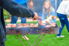 Dinner party, bbq on back yard. Happy family moments. stock photo
