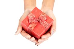 Close up of hands  hold red gift box Royalty Free Stock Photos