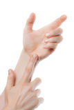 Close-up of hands holding nothing Stock Image