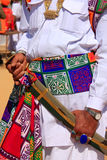 Close up of hands holding sword during Mr Desert competition, Jaisalmer, India. Close up of hands holding sword during Mr Desert competition, Jaisalmer royalty free stock images