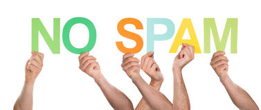 Close-up Of Hands Holding The Word No Spam Stock Image