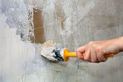 Close-up, hands holds paintbrush, worker painting  wall with whi Stock Photo