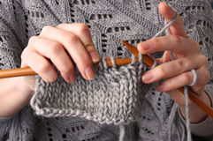 Close-up of hands knitting Royalty Free Stock Photography