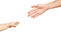 Close-up hands of mother and little child Stock Images