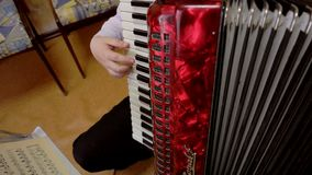 Close up on hands playing accordion stock video footage