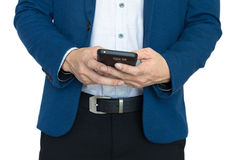 Close up of hands with smart phone. Businessman play smart phonenclose up of hands with smart phone stock photo