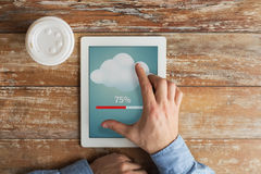Close up of hands with tablet pc transferring data Royalty Free Stock Photography