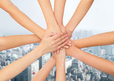 Close up of hands on top Stock Images