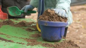 Child filling bucket with sand on table in sandbox. Close-up of hands of unknown child filling bucket with sand on green table in sandbox in an amusement park at stock video footage