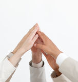 Close-up of hands up showing positivety Royalty Free Stock Images