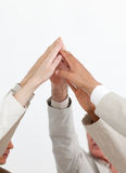 Close-up of hands up showing positivity Stock Photo