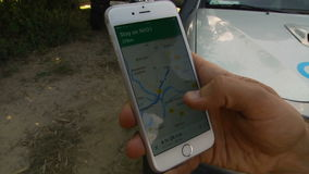 Close-Up Of Hands Using Google Maps In Smart Phone stock video