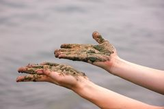 Closeup of hands with wet sand. stock photo