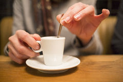 Close up of hands woman and cup of coffee Royalty Free Stock Photo