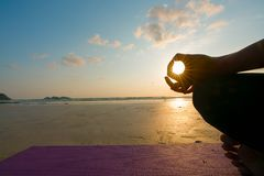 Close up hands. Woman do yoga outdoor. Woman exercising vital and meditation for fitness lifestyle club royalty free stock photography