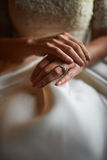 Close up of hands of woman showing the ring with diamond. She is. Engaged Royalty Free Stock Images