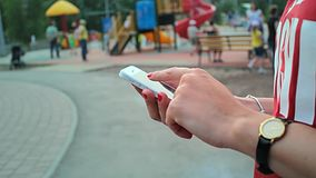 Close up of hands woman using her cell phone stock video footage