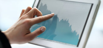 Close up hands woman using tablet Royalty Free Stock Photo