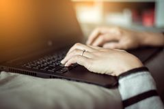 Close up hands woman working using laptop and connecting wifi royalty free stock images