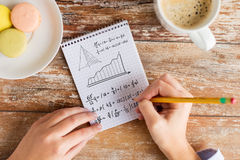 Close up of hands writing mathematical equation. Business, education and people concept - close up of female hands with pencil, coffee and cookies solving task stock photo