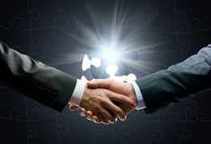 Close up of handshake against world connection background Royalty Free Stock Photo