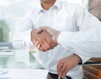 Close-up handshake of business colleagues. Stock Images