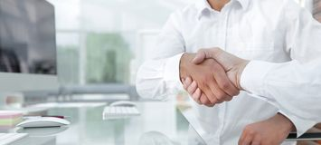 Close-up handshake of business colleagues. The concept of partnership Stock Photo