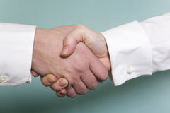 Close up of handshake with white shirtsleves befor Royalty Free Stock Photography