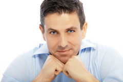 Close up Handsome Businessman Leaning on his Fists Royalty Free Stock Images