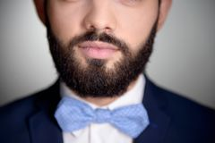 Close up of handsome man with beard and bow tie. Close up photo of handsome stylish man with beard. Man wearing classic dark blue suit and a blue bow tie stock photos