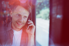 Close up of handsome man talking on mobile phone Royalty Free Stock Photography