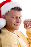 Close up of handsome man wearing chritsmas hat. Close up of handsome man wearing Christmas hat on an isolated white background Royalty Free Stock Photo