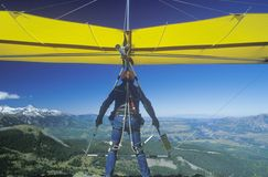 Close-up of Hang Glider taking off of cliff Stock Images