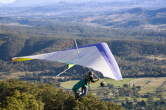 Close up hang glider view. A close up view of a hang glider in Queensland Australia Stock Photos