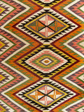 Close up of a hanged colourful handmade traditional wool rug stock photo