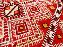 Close up of a hanged colourful handmade traditional wool rug Stock Photos