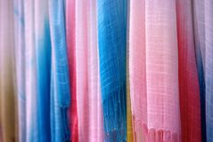 Close up of Hanging Woven Scarves Royalty Free Stock Photo