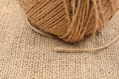Close up of hank of twine, reel of rope, ball of hemp thread on Stock Photo
