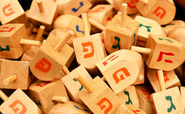 Close up of hanukkah dreidels. On market stand stock photography