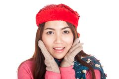 Close up of happy Asian girl with red christmas hat Stock Photos