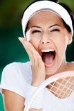 Close up of happy athletic woman royalty free stock image