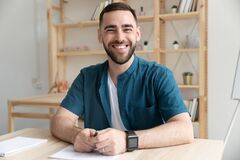 Free Close Up Happy Bearded Man Hr Makes Good First Impression. Stock Image - 183172151