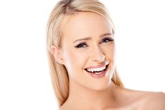 Close up Happy Blond Woman Looking at Camera Stock Images
