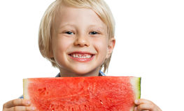 Close-up of happy boy holding water melon Royalty Free Stock Images