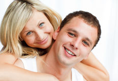 Close-up of happy boyfriend and girlfriend Stock Photos