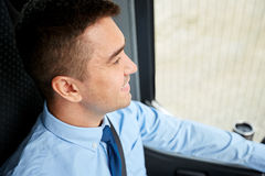 Close up of happy bus driver or businessman Stock Images