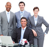 Close-up of a happy business team Royalty Free Stock Image