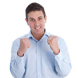 Close up Happy Businessman with Clenched Fist Royalty Free Stock Images